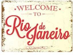Placa Decorativa em MDF Welcome Rio de Janeiro Bem Vindo