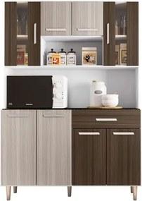 Kit Cozinha Compacta Gabi 8 Portas Branco/Rovere/Amêndoa - Poliman