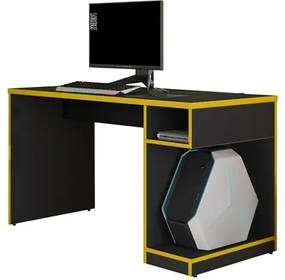 Mesa Para Computador Notebook Gamer X Preto/Amarelo - Fit Mobel
