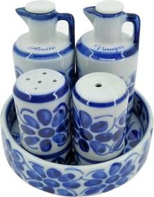 Conjunto Galheteiro em Porcelana Azul Colonial