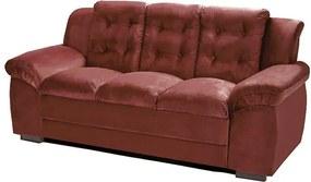 Sofá com Fibra no Assento e Encosto Granada 3 Lugares Tecido Suede Vinho - Umaflex