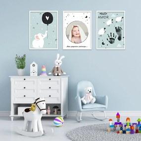 Quadro 60x120cm Infantil Lembrança Bebê Menino Moldura Branca com Vidro Decorativo