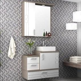 Kit Banheiro Gabinete 80cm Suspenso Cuba e Armário com Espelho Ecco Tweed/Branco - Bosi