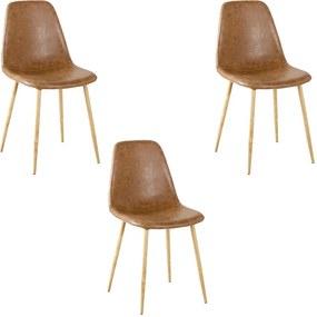 Kit 3 Cadeiras Decorativas Sala e Escritorio Base Clara Emotion PU Marrom - Gran Belo