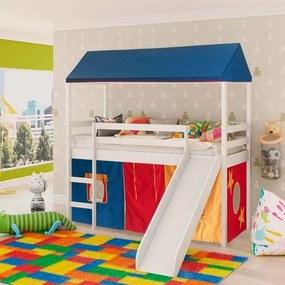 Cama infantil com escorregador e Tenda Multicores com Telhado Completo e Tecido Azul - Casatema