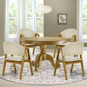 Mesa de Jantar Halsey Oregon 120cm com 04 Cadeiras Nik Oregon Linho Rústico Bege - Gran Belo
