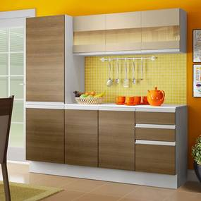 Cozinha Compacta 100% MDF Madesa Smart 170 cm Modulada Com Armário, Balcão e Tampo Branco/Rustic/Crema Cor:Branco/Rustic/Crema