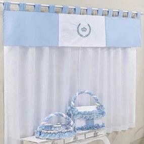 Cortina Quarto de Bebê Príncipe Duque Azul 3 Peças