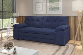 Sofá 3 Lugares 2,17mts Santa Fé Com Espuma Soft Tecido Suede Cor Azul Marinho