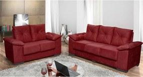 Conjunto De Sofá San Marino 3 E 2 Lugares Tecido Suede Amassado Vermelho - Moveis Marfim