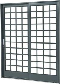 Porta de Aço de Correr Belfort Quadriculada 2 Folhas Abertura Direita 217x160x12 - Sasazaki - Sasazaki