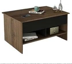 Mesa de Centro Articulada com Nichos Pop Up MES 4003 Preto/Nogueira -