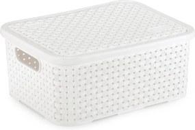 Caixa Organizadora Plástico Rattan Pequeno com Tampa Branco