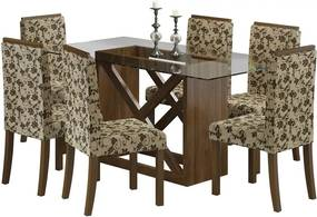 Conjunto Olinda com Mesa + 6 Cadeiras Rustic / Floral / Marrom OOL