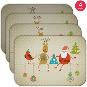 Jogo Americano Love Decor  Wevans Cute Noel Kit Com 4 Pçs