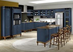 Cozinha Hannover Azul Petróleo Completa Linz Móveis -