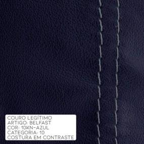 Poltrona Chandler Reclinável Manual Giratória Base Disco Couro Azul Escuro - Idea Relax G. Natuzzi