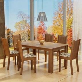 Conjunto Sala de Jantar Madesa Analu Mesa Tampo de Madeira com 6 Cadeiras Rustic/Bege Marrom Cor:Rustic/Bege Marrom