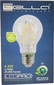 Lâmpada de Led Filamento Pera 4.8W 2700K A60 E27 - LEDPRO - Bivolt