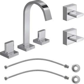 Kit Misturador para Banheiro Mesa Polo 1877.C33 + 2 Flexiveis + Acabamento de Registro 4900.C33.PQ Cromado - 1877.C33.KIT2 - Deca - Deca
