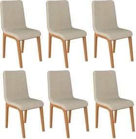 Kit 06 Cadeiras Decorativas Sala de Jantar Madeira Champagne Lins Linho Bege - Gran Belo