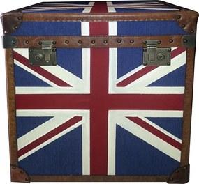 Baú em Madeira Bandeira Inglaterra 62x60x68 cm