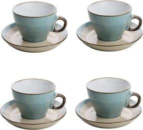 Jogo Xícaras Para Chá 4 Peças Com Pires Cerâmica Azul 200ml 27834 Bon Gourmet