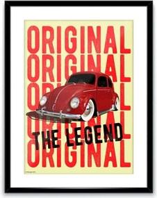 Quadro Poster Vidro E Madeira Volkswagen Fusca Amarelo