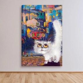 Tela Decorativa Estilo Pintura Gato da Noite na Cidade - Tamanho: 90x60cm (A-L) Unico