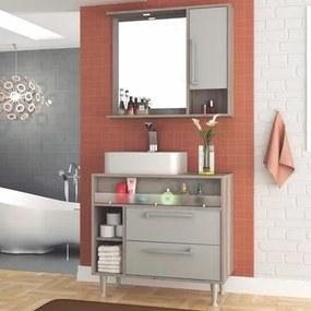 Kit Banheiro Gabinete 80cm Cuba e Armário com Espelho Luise Barrique/Nude - Bosi
