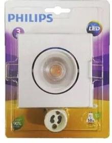 Spot Led Embutir Philips Policarbonato Quadrado 5W 2700K