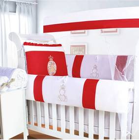 Kit Berço Padroeira Baby Ursa Encanto Vermelho