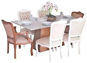 Conjunto Sala de Jantar Mesa Bonnie com 4 Cadeiras e 2 Poltronas Luix XV - Wood Prime 38714
