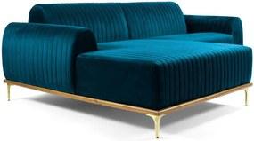 Sofá 3 Lugares com Chaise Base de Madeira Euro 230 cm Veludo Turquesa - Gran Belo