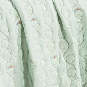 Cobre Leito Pandora Super King Bordado cor Verde com 3 peças - Bernadete Casa