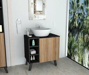 Gabinete De  Banheiro Slim  Preto Com Castanho  Appunto