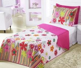 Cobre Leito Infantil Menina Solteiro Garden Pink Jardim Flores com 2 peças - Aquarela