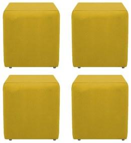 Kit 04 Puffs Decorativos Dado  Suede Amarelo - ADJ Decor