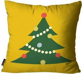 Capa para Almofada Mdecore Natal Arvore de Natal Amarela45x45cm