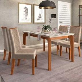 Mesa de Jantar Dália 140cm Rústico Terrara Off White + 4 Cadeiras Sara Veludo Kraft