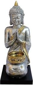 Porta Velas Buddha Prateado com Base em Madeira