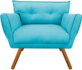Poltrona Decorativa Anitta Suede Azul Tiffany - D'Rossi