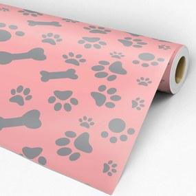Papel de parede adesivo patas cinza fundo rosa