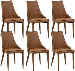 Kit 06 Cadeiras Para Sala de Jantar Cozinha Eva Microfibra Marrom - Gran Belo