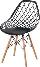 Cadeira Frank Preta Base Madeira - 50071 Sun House