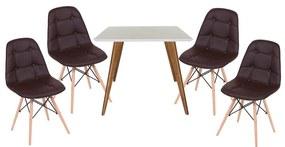 Conjunto Mesa Square Quadrada Branco 90x90cm + 4 Cadeiras Eiffel Botonê Marrom
