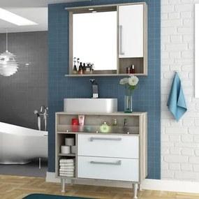Kit Banheiro Gabinete 80cm Cuba e Armário com Espelho Luise Barrique/Branco - Bosi