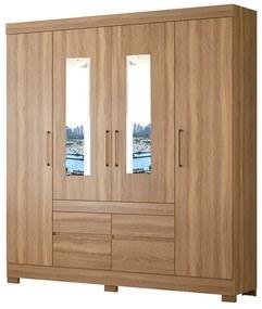 Guarda-Roupa Amélia D01 4 Portas com Espelho Amêndola Touch - ADJ DECOR