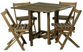 Kit Mesa + 4 Cadeiras Dobráveis 14 Bis - Wood Prime MR 218555