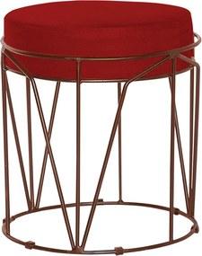 Puff Decorativo Sala de Estar Base Bronze Chloe Veludo Vermelho - Gran Belo